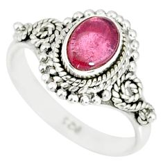 1.55cts natural pink tourmaline 925 silver solitaire handmade ring size 5 r82211