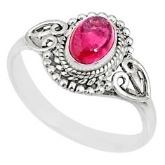 1.39cts natural pink tourmaline 925 silver solitaire ring jewelry size 5 r82463
