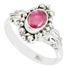 1.44cts natural pink tourmaline 925 silver solitaire handmade ring size 6 r82215