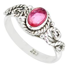 1.57cts natural pink tourmaline 925 silver solitaire ring jewelry size 6 r82342