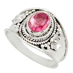 Clearance Sale- 2.21cts natural pink tourmaline 925 silver solitaire ring jewelry size 7 d36121