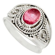 Clearance Sale- 2.13cts natural pink tourmaline 925 silver solitaire ring jewelry size 7 d36123