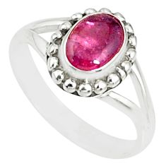 1.52cts natural pink tourmaline 925 silver solitaire handmade ring size 7 r82186