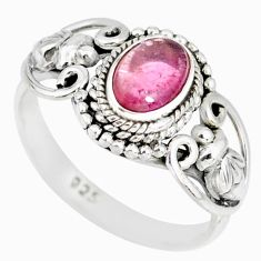1.48cts natural pink tourmaline 925 silver solitaire handmade ring size 7 r82201