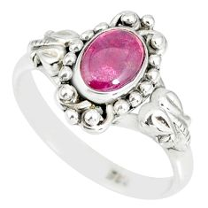 1.51cts natural pink tourmaline 925 silver solitaire handmade ring size 7 r82206