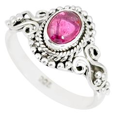 1.51cts natural pink tourmaline 925 silver solitaire handmade ring size 7 r82209
