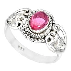 1.54cts natural pink tourmaline 925 silver solitaire ring jewelry size 7 r82341