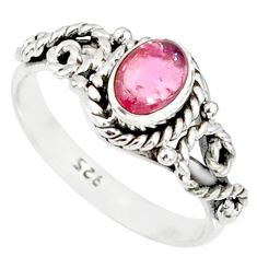 1.57cts natural pink tourmaline 925 silver solitaire ring jewelry size 7 r82346