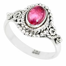1.46cts natural pink tourmaline 925 silver solitaire ring jewelry size 7 r82350