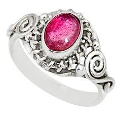 1.30cts natural pink tourmaline 925 silver solitaire ring jewelry size 7 r82469
