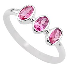 2.16cts natural pink tourmaline 925 silver solitaire ring jewelry size 7 t33077