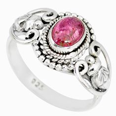1.59cts natural pink tourmaline 925 silver solitaire handmade ring size 8 r82207