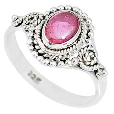 1.46cts natural pink tourmaline 925 silver solitaire handmade ring size 8 r82210