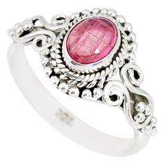 1.50cts natural pink tourmaline 925 silver solitaire handmade ring size 8 r82217