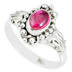 1.53cts natural pink tourmaline 925 silver solitaire handmade ring size 8 r82218