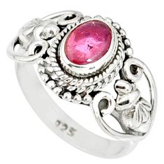 2.04cts natural pink tourmaline 925 silver solitaire ring jewelry size 8 r82345