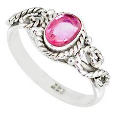 1.57cts natural pink tourmaline 925 silver solitaire ring jewelry size 8 r82349