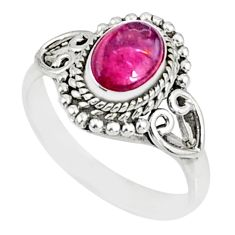 1.45cts natural pink tourmaline 925 silver solitaire ring jewelry size 8 r82462