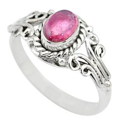 1.57cts natural pink tourmaline 925 silver solitaire ring jewelry size 8 t7690
