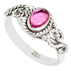 1.56cts natural pink tourmaline 925 silver solitaire handmade ring size 9 r82202