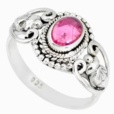 1.55cts natural pink tourmaline 925 silver solitaire handmade ring size 9 r82203