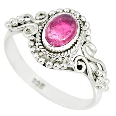 1.43cts natural pink tourmaline 925 silver solitaire handmade ring size 9 r82213