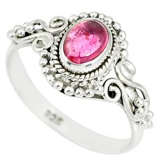 1.42cts natural pink tourmaline 925 silver solitaire handmade ring size 9 r82220