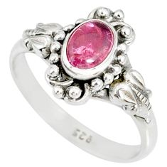 1.51cts natural pink tourmaline 925 silver solitaire ring jewelry size 9 r82344