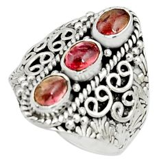 3.14cts natural pink tourmaline 925 sterling silver ring jewelry size 8.5 r22503