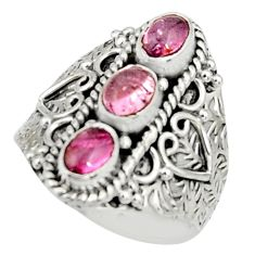 3.16cts natural pink tourmaline 925 sterling silver ring jewelry size 8.5 r22507