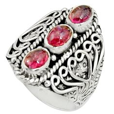 3.06cts natural pink tourmaline 925 sterling silver ring jewelry size 7.5 r22510
