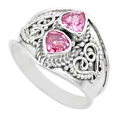 1.63cts natural pink tourmaline 925 sterling silver ring jewelry size 7 t44872