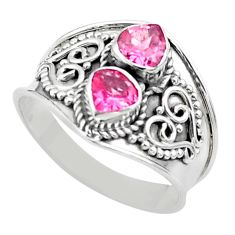 1.62cts natural pink tourmaline 925 sterling silver ring jewelry size 7 t44873