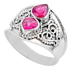 1.74cts natural pink tourmaline 925 sterling silver ring jewelry size 7 t44875