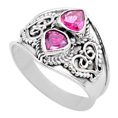 1.66cts natural pink tourmaline 925 sterling silver ring jewelry size 7 t44876