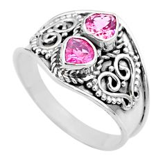 1.79cts natural pink tourmaline 925 sterling silver handmade ring size 7 t44879