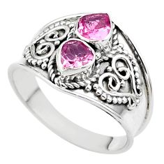 1.74cts natural pink tourmaline 925 sterling silver ring jewelry size 7 t44899