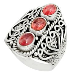 3.12cts natural pink tourmaline 925 sterling silver ring jewelry size 8 r22504