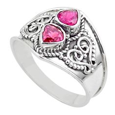 1.74cts natural pink tourmaline 925 sterling silver ring jewelry size 8 t44869