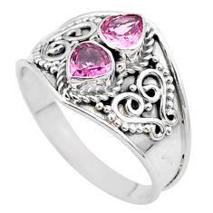 1.79cts natural pink tourmaline 925 sterling silver ring jewelry size 8 t44897