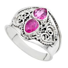 1.74cts natural pink tourmaline 925 sterling silver ring jewelry size 8 t44900