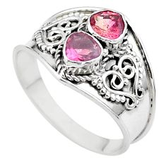 1.74cts natural pink tourmaline 925 sterling silver ring jewelry size 9 t44893