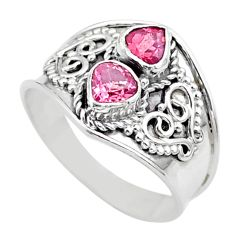 1.58cts natural pink tourmaline 925 sterling silver ring jewelry size 7.5 t44867