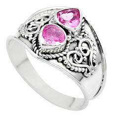 1.81cts natural pink tourmaline 925 sterling silver ring jewelry size 8.5 t44895