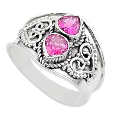 1.75cts natural pink tourmaline heart 925 sterling silver ring size 8 t44866