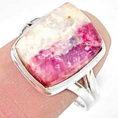 7.40cts natural pink tourmaline in quartz silver solitaire ring size 8.5 r85774