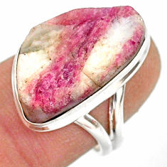 12.83cts natural pink tourmaline in quartz silver solitaire ring size 7 r85773