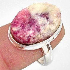 13.71cts natural pink tourmaline in quartz silver solitaire ring size 8 r85767