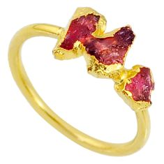 4.07cts natural pink tourmaline raw 14k gold handmade ring size 8 r70722