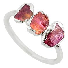3.86cts natural pink tourmaline raw 925 sterling silver ring size 7 r70713